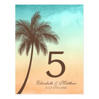 Número tropical de la tabla del boda de la palmera postales