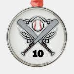 Número uniforme 10 del jugador de béisbol ornamentos de reyes