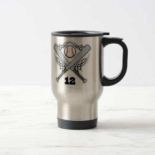 Número uniforme 12 del jugador de béisbol taza de viaje de acero inoxidable