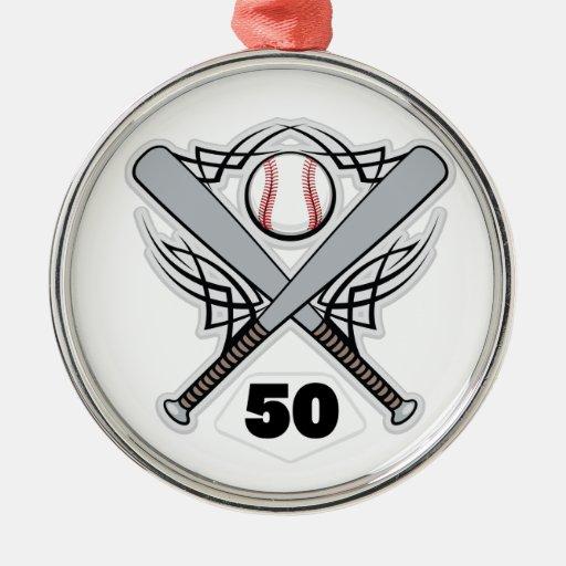 Número uniforme 50 del jugador de béisbol adorno redondo plateado