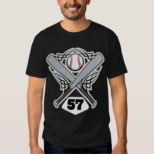 Número uniforme 57 del jugador de béisbol playera