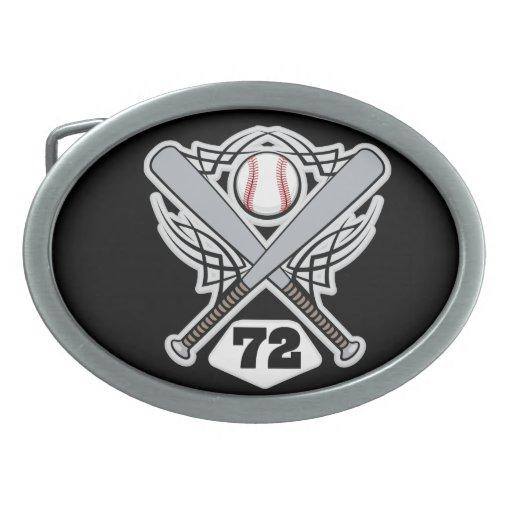 Número uniforme 72 del jugador de béisbol hebilla de cinturón oval