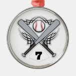 Número uniforme 7 del jugador de béisbol ornamento para arbol de navidad