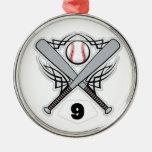Número uniforme 9 del jugador de béisbol ornamentos de navidad