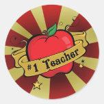 Número uno Apple del profesor y pegatina del tatua