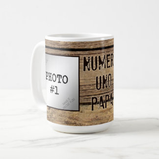 Numero Uno Papa in Rustic Wood-Framed Photos Coffee Mug