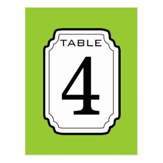 Número verde y blanco 4 V04 de la tabla de marco Postales