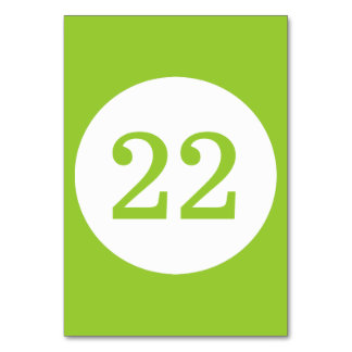 Número verde y blanco de la tabla de círculo