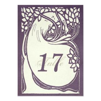 """Número violeta y de marfil del art déco del pavo invitación 4.5"""" x 6.25"""""""