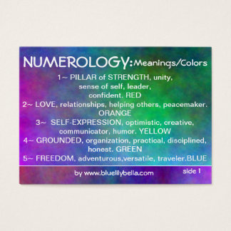 Numerology Meanings Chart Business Card