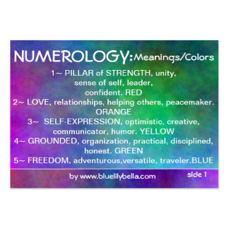 Numerology Meanings Chart Large Business Card
