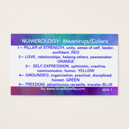 Numerology Meanings/Colors Chart Business Card ...