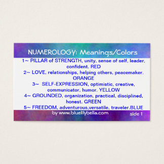 Numerology Meanings/Colors Chart Business Card