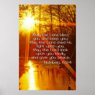 NÚMEROS 6: 24 de mayo El SEÑOR BLESS YOU Póster
