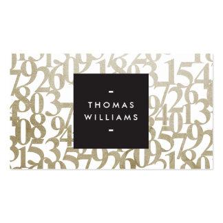 Números abstractos del oro para los contables, tarjetas de visita