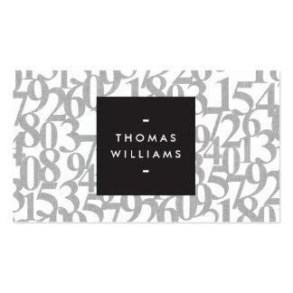 Números abstractos grises para los contables, tarjetas de visita