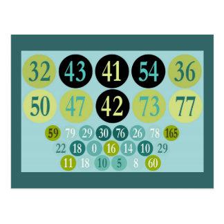 Números afortunados, diseño colorido, plantilla tarjeta postal