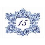 Números azules adornados de la tabla de marco del  tarjetas postales