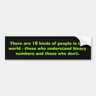 Números binarios pegatina de parachoque