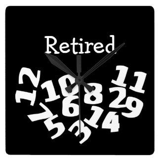 Números caidos divertidos jubilados reloj cuadrado