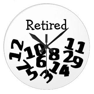 Números caidos divertidos jubilados reloj redondo grande