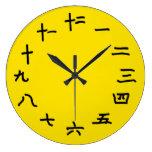 Números chinos en el reloj de pared amarillo imper