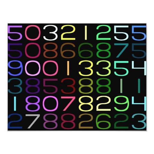 números coloridos invitacion personalizada