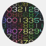 números coloridos pegatinas redondas
