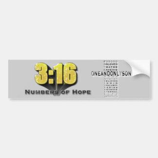 Números de 3:16 de la esperanza etiqueta de parachoque