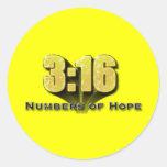 Números de 3:16 de la esperanza etiquetas redondas