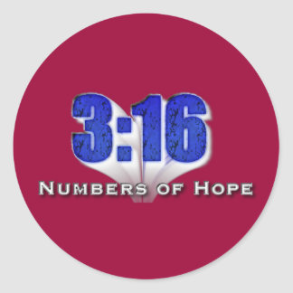 Números de 3:16 de la esperanza pegatina redonda