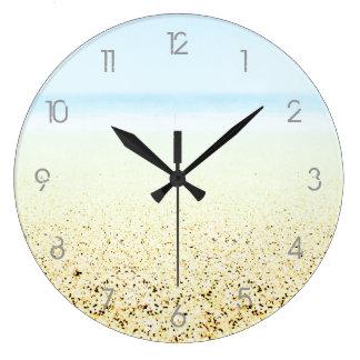 Números de la ARENA Y del MAR - personalizable Reloj Redondo Grande