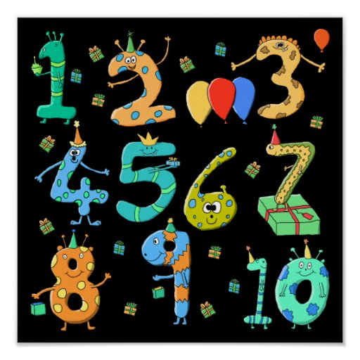 Números de la fiesta de cumpleaños, en negro impresiones
