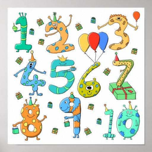 Números de la fiesta de cumpleaños posters