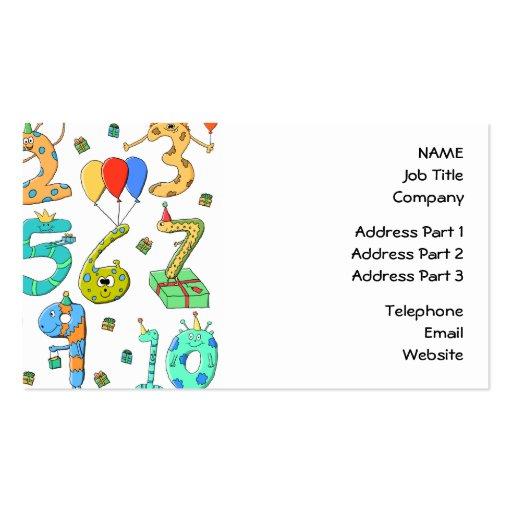 Números de la fiesta de cumpleaños tarjetas de visita