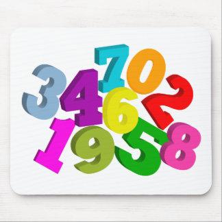 números de la matemáticas en color alfombrillas de raton