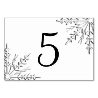 Números de la tabla de los copos de nieve del