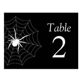 Números de la tabla de Spiderweb (negro/blanco) Tarjeta Postal