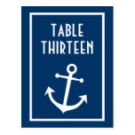 Números de la tabla del ancla del barco (azul mari postales