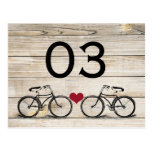 Números de la tabla del boda de la bicicleta del v tarjetas postales