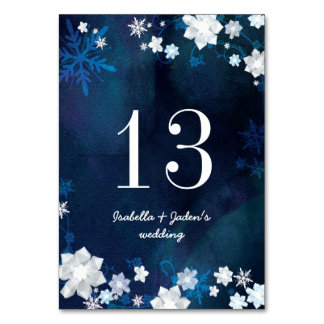 Números de la tabla del boda de los azules marinos