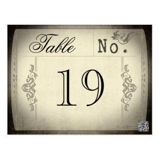 Números de la tabla del boda del boleto del vintag postales