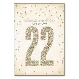 Números de la tabla del boda del confeti de la mir