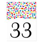 Números de la tabla del boda del confeti postal