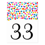 Números de la tabla del boda del confeti tarjeta postal