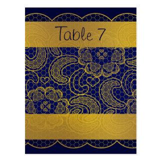 Números de la tabla del boda del cordón de los azu postales