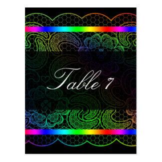 Números de la tabla del boda del cordón del arco i tarjetas postales