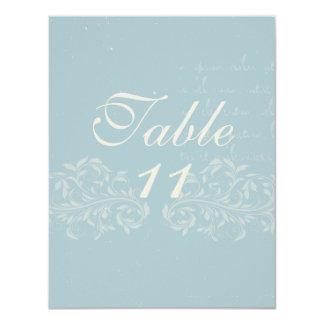"""Números de la tabla del boda del damasco del invitación 4.25"""" x 5.5"""""""
