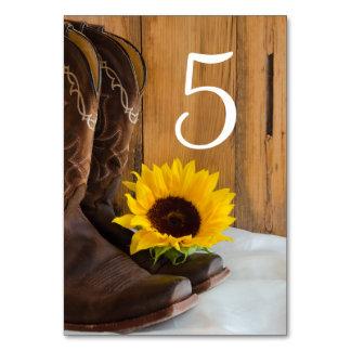 Números de la tabla del boda del girasol del país