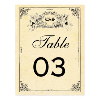 Números de la tabla del boda del guión del cuento tarjeta postal